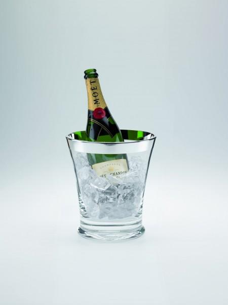 """Eiskühler """"Champagne"""" mit galvanisiertem Silberrand, Kristall-Silber"""