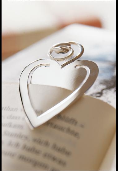 Lesezeichen Herz, 925 Sterling-Silber