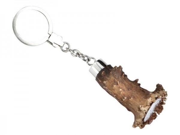 Schlüsselkette Jagd in Sterling Silber, natürliches Hirschgeweih, gravurfähig