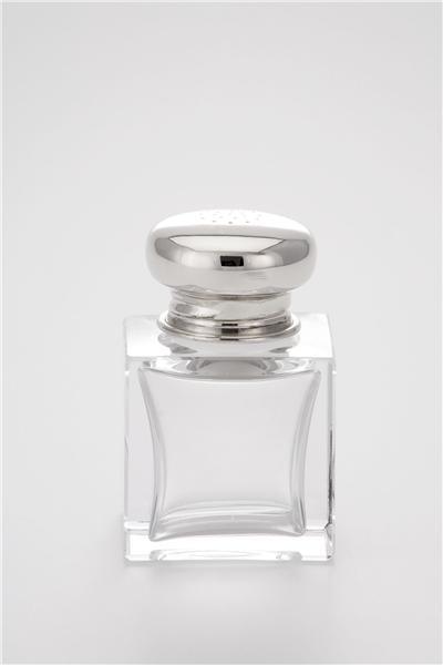 Salzstreuer Kristall mit Sterling-Silber Deckel, 4 cm hoch-