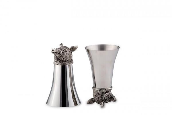 Jagdbecher Wildschwein, Höhe 13 cm, beidseitig stellbar