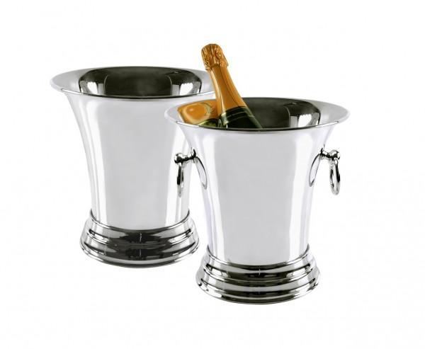 Sektkühler Weinkühler Tromba mit Griffen, schwerversilbert, Höhe 25 cm, Durchmesser 25 cm