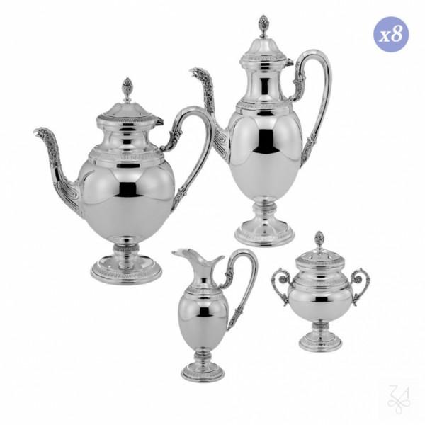 Tee- und Kaffeeservice Empire 4-teilig für 8 Personen, in Sterling Silber