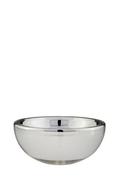 Silberschale aus Silberglas, 11 cm hoch,Ø 28 cm