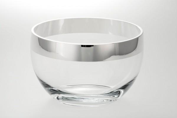 Kristallschale Mosel mit breitem Silberrand galvanisiert, Ø 25 cm