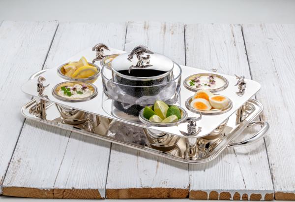 """Luxus-Kaviarkabarett """"Gourmet"""" Sterling-Silber, teilvergoldet mit 6 Silberschalen, 58 x 32 cm"""
