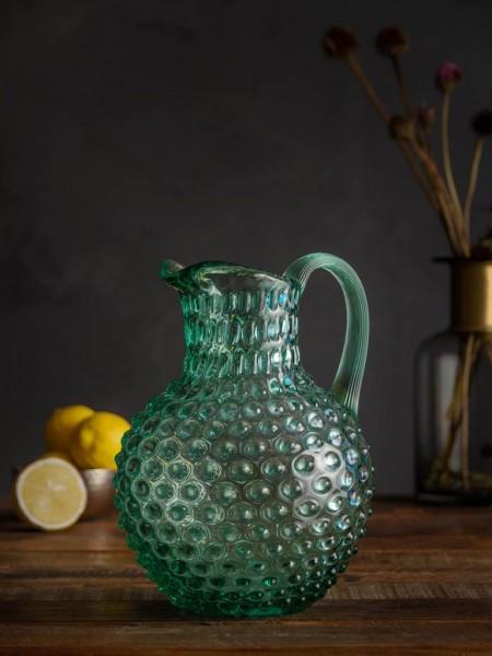 Grüne Kristallkaraffe mit Griff Hobnail 2L