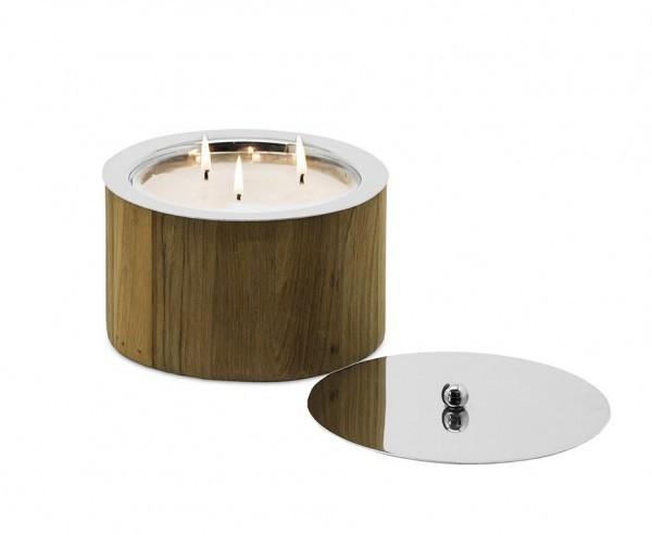 Windlicht/ Kerze Holz, Höhe 12 cm