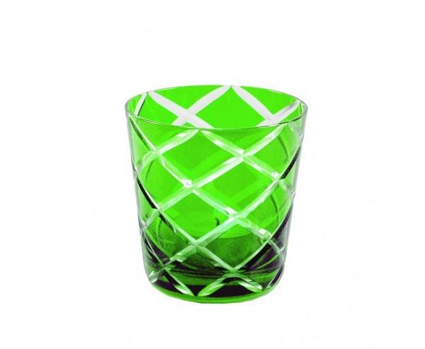 Kristallgläser 6-er Set, grün-kariert, handgeschliffen