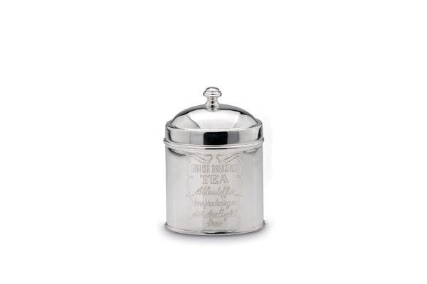Teedose Oval versilbert, 16 cm hoch