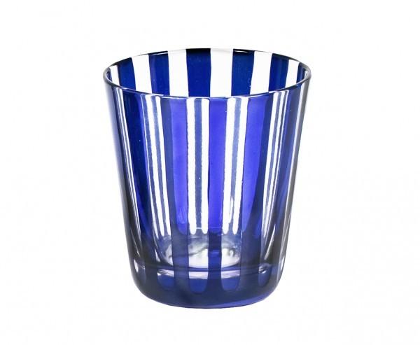 Kristallgläser 6-er Set, blau-gestreift, handgeschliffen