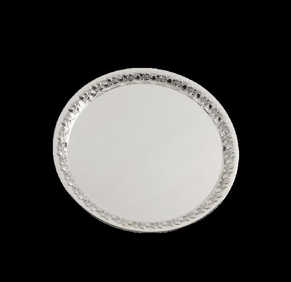 """Tablett """"Leaves"""", Sterling-Silber, mit handziselierten Blattranken, 38 cm"""