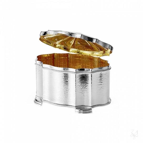 Silberschatulle mit Kordelrand, gehämmert, innen vergoldet in Sterling Silber