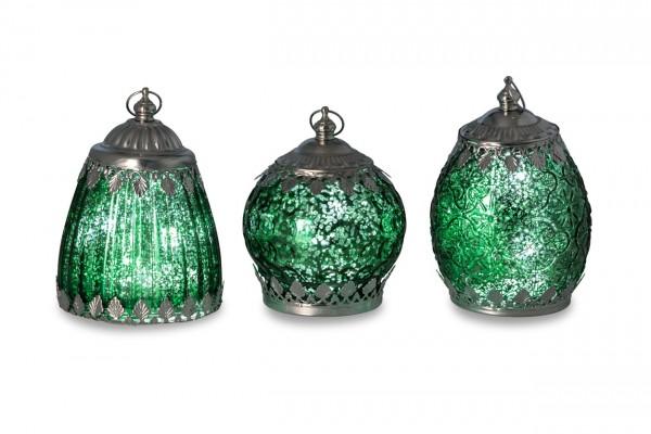 Weihnachtliches Glaslaternen Set grün, 3-teilig, 13,5 -14,5 cm hoch