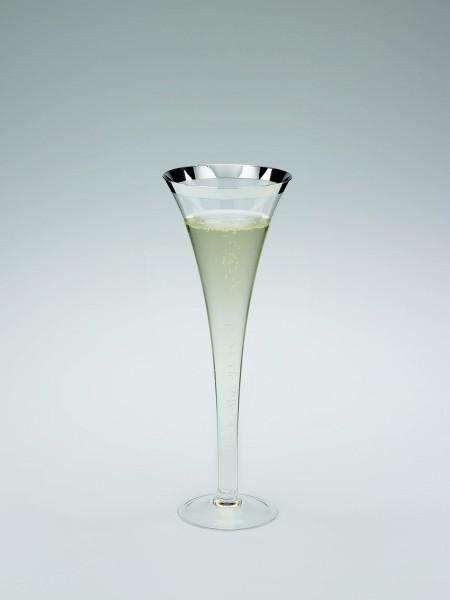 Champagnerflöte mit galvanisiertem Silberrand, Kristall-Silber