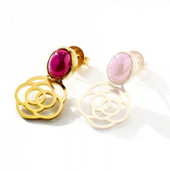 Rose-Ohrring-Paar mit Rubin,18 Karat Gold,14 mm