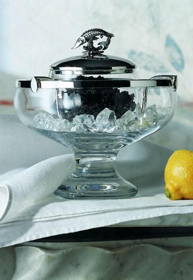 Kristall-Kaviarschale, Sterling-Silber von Robbe & Berking
