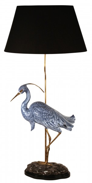Tischlampe Blue Heron, Porzellan/ Messing, Höhe 87cm