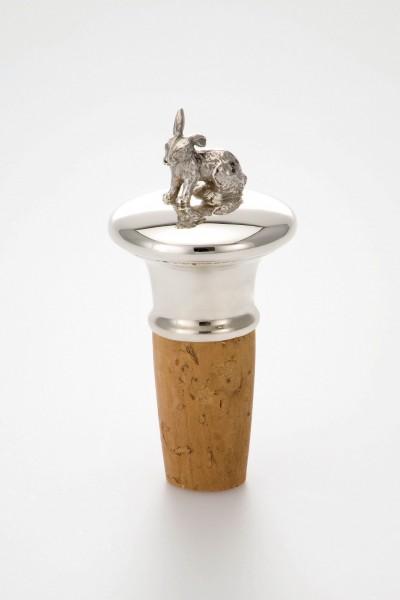 Tierkorken sitzender Hase, Sterling Silber, Höhe: 8,0 cm