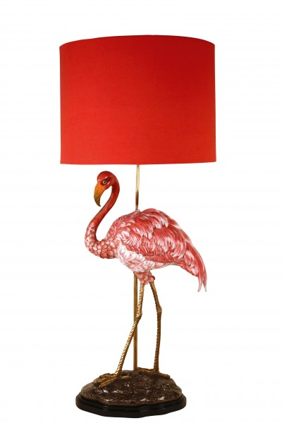 Porzellanlampe Flamingo, Porzellan/ Messing, mit Schirm, Höhe 72 cm