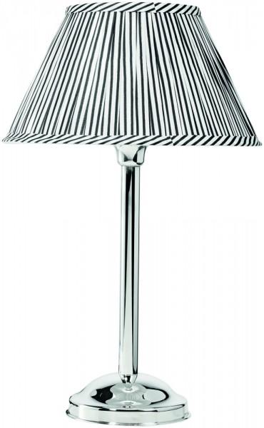 """Silberlampe """"Vintage"""" mit schwarz-weißem Schirm, Höhe 43 cm-Copy"""