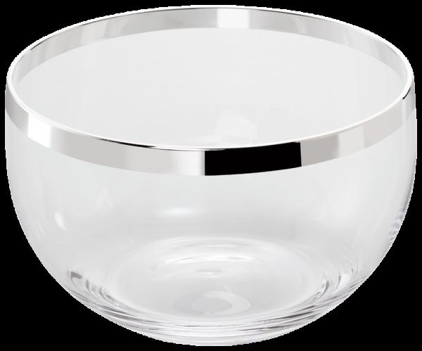 Kristallschale mit galvanisiertem Silberrand,Ø 19 cm,11,5 cm hoch