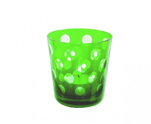 Kristallgläser 6-er Set, grün-gepunktet, handgeschliffen