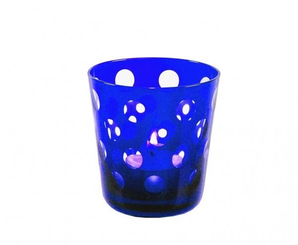Kristallgläser 6-er Set, blau-gepunktet, handgeschliffen