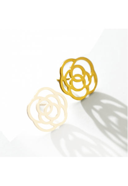 Rose-Ohrring rechts,18 Karat Gold,14 mm