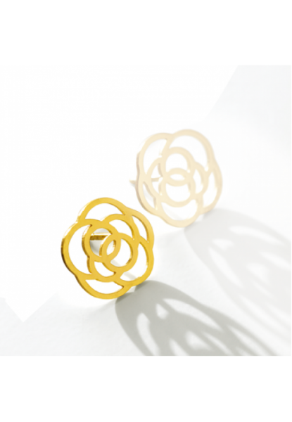 Rose-Ohrring links,18 Karat Gold,14 mm