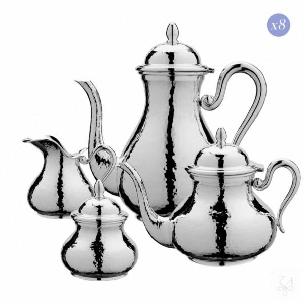 Tee- und Kaffeeservice 4-teilig für 8 Personen, in Sterling Silber, gehämmert