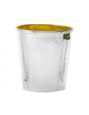 Gehämmerter Becher, Sterling-Silber, innen vergoldet, 7cm