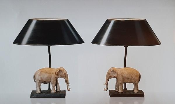 Lampenpaar Elefant, Bronze mit Lackschirm, Höhe 36cm