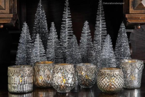 6-teilige Teelichthalter-Garnitur aus Glas und Silber, Höhe 9-10,5 cm