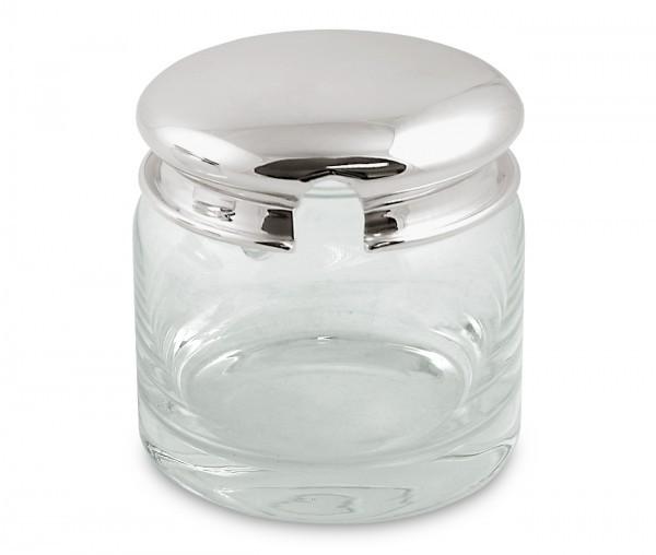 Marmeladenglas Jely, Deckel schwerversilbert, Höhe 9 cm