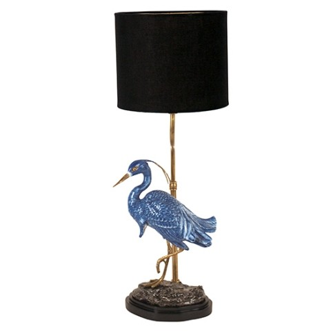 Tischlampe Blue Heron, Porzellan/ Messing, Höhe 46 cm