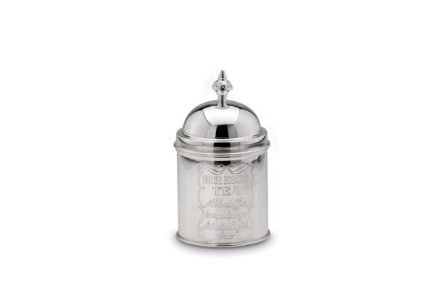 Teedose rund versilbert, 17 cm hoch