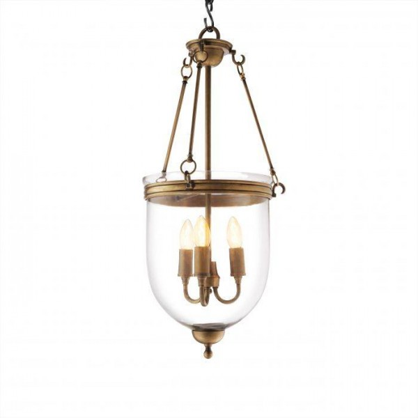 Glasglocke Vintage, Lampenhalterung in antikmessing, Ø 32 cm; Höhe 70 cm