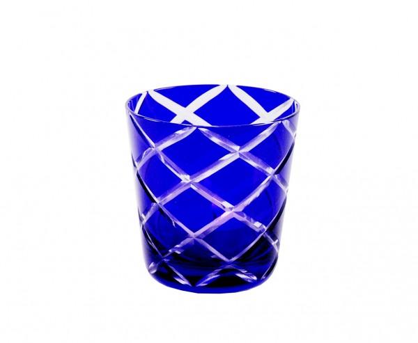 Kristallgläser 6-er Set, blau-kariert, handgeschliffen
